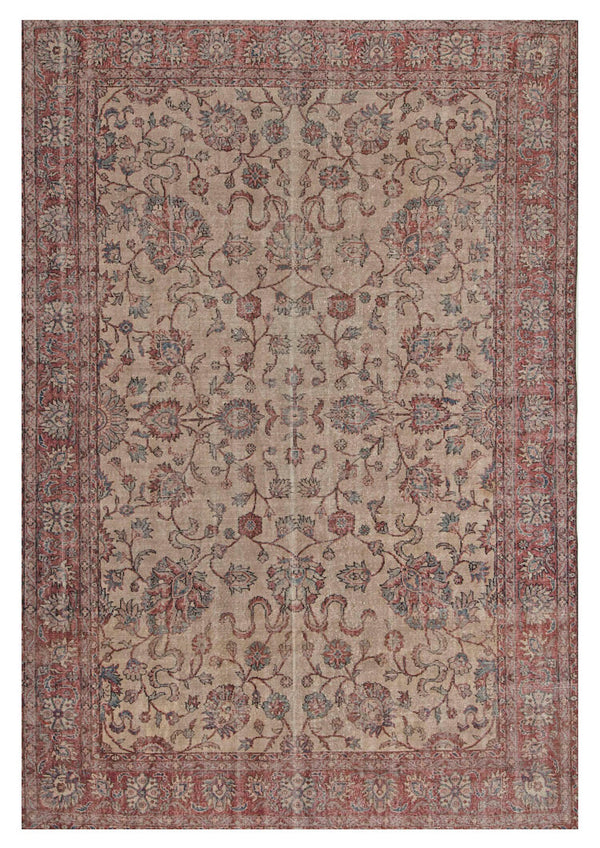 Oriental Turkish Oushak Rug, 6.7 x 10.4 Feet, Washed Beige with Red Green Floral Pattern, Large Home Interior Rug