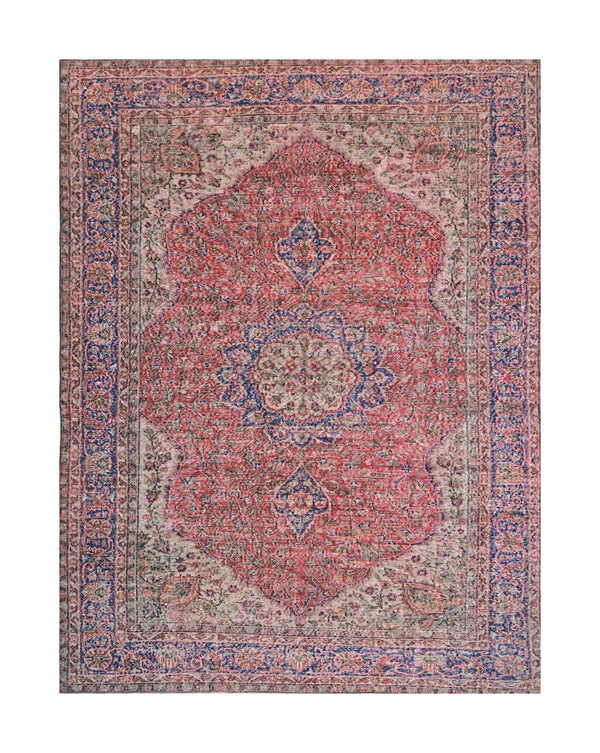 Red Blue Turkish Rug | Oushak Rug | 7 x 10 feet | Vintage Area Rug | Oriental Rug | Medallion Rug | Low Pile Rug
