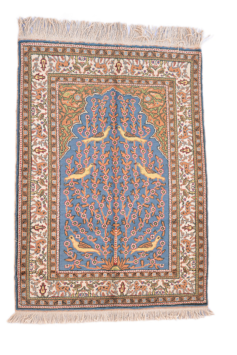 Light Blue Oriental Rug | Tree of Life Rug | Yellow Blue Rug | Traditional Rug | 3 x 4 Rug | Soft Pile | Handmade Wool Rug