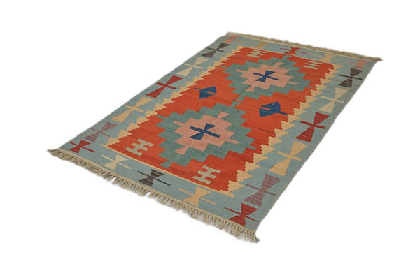 Turkish Kilim | Vintage Tribal Rug | Blue Geometric Rug | Vintage Area Rug | Boho Style Rug | Blue and Red Rug | 3 x 5 ft Area Rug