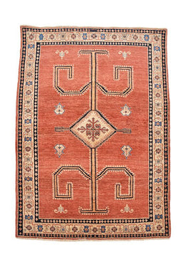 Bright Red Tribal Rug | 5 x 7 ft Rug | Hand Knotted Rug | Vintage Bohemian Rug | Thick Soft Pile Rug | Geometric Rug