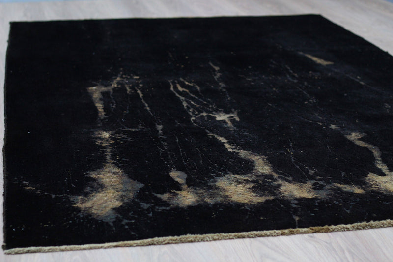 Black Hand Knotted Vintage 5 x 9 Rug  | Black and Beige Area Rug | Overdyed Rug | Modern Eclectic Rug | Wool Rug
