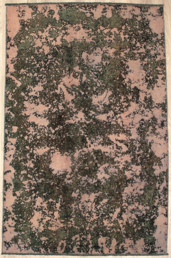 Vintage Hand Knotted Rug  | Light Pink and Green | 6 x 9 Rug | Contemporary Persian Style Rug | Wool Rug | Antique Rug | Shaved & Overdyed