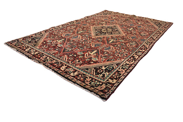 Floral Vintage Tribal 4x6 Area Rug | Turkish Persian Oriental Rug | Diamond Medallion Rug | Brown Orange  Wool Rug