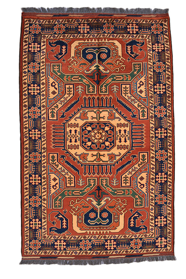 Red Brown 4x6 Tribal Rug | Vintage Kazak Rug | Geometric Rug | Earth Tone Rug | Rustic Home Accent Rug