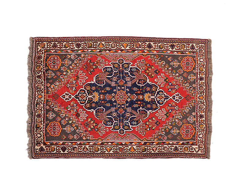 Red Bohemian 4 x 5 Rug  | Geometric Vintage Wool Rug | Tribal Persian Hand Knotted Bright Medallion Rug