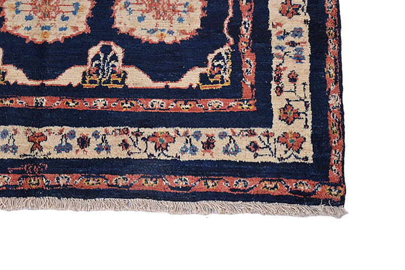 Dark Blue Oriental Rug | Traditional Turkish Rug | Handmade Rug | 3 x 5 Rug | Blue Boho Rug | Navy Hand Knotted Rug