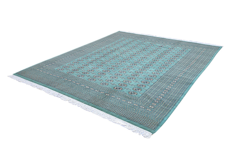 Green Teal Large 8 x 10 Rug | Kashmir Pakistani Hand Knotted Rug | Soft Pile Oriental Rug | Black Border