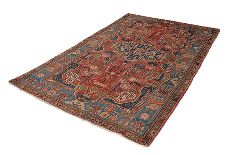 Coral Hand Knotted Rug | Orange Blue Oriental | 5 x 8 Rug | Persian Tribal Geometric Rug | Medallion Rug