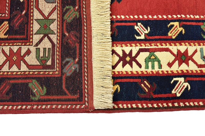 Red Green Turkish Kazak Rug | 6 x 9 Rug | Geometric Rug | Jewel Tone Green Central Medalions | Wool Rug | Antique Rug