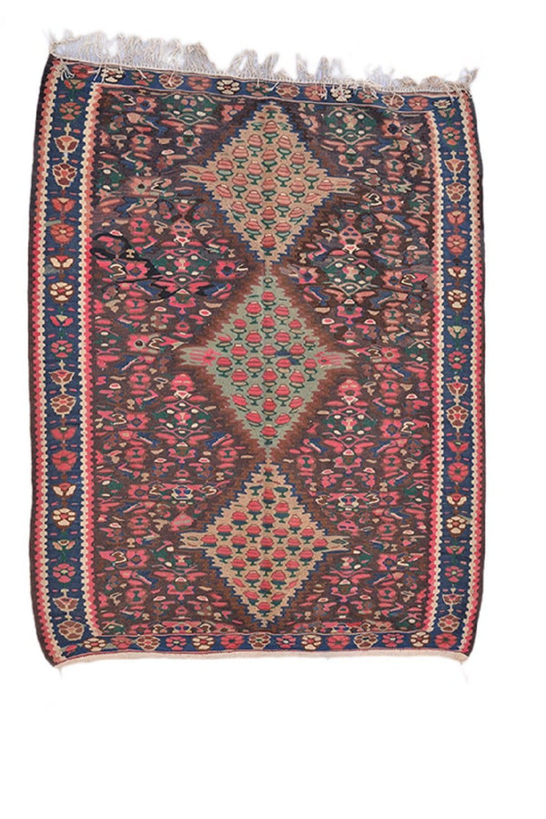 Vintage Pink Rug | Turkish Area Rug | 4 x 6 Ft Rug | Floral Rug | Navy and Pink Rug | Wool Rug | Hand Knotted Rug