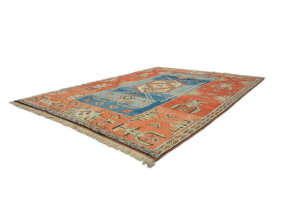 Turkish Kazak 6x9 Rug | Orange Blue Rug | Vintage Geometric Rug | Tribal Wool Hand Knotted Rug