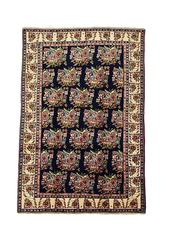 Hand Knotted 7x10 Navy Pink Floral Rug | Vintage  Persian Caucasian Rug | Wool Hand Knotted Rug | Antique One of a Kind Rug