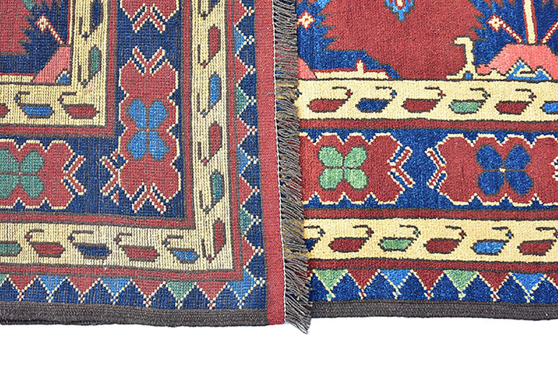 Red Vintage 7x10 Geometric Floral Rug | Red Blue Green Flowers | Wool Hand Knotted Rug | Turkish Persian Rug