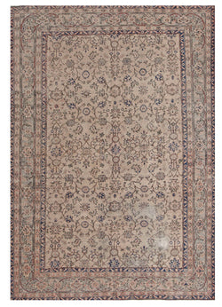7x10 Feet Oushak Neutral Colored Area Rug, Distressed Vintage Dark Red Floral Pattern Turkish, Hand woven Wool
