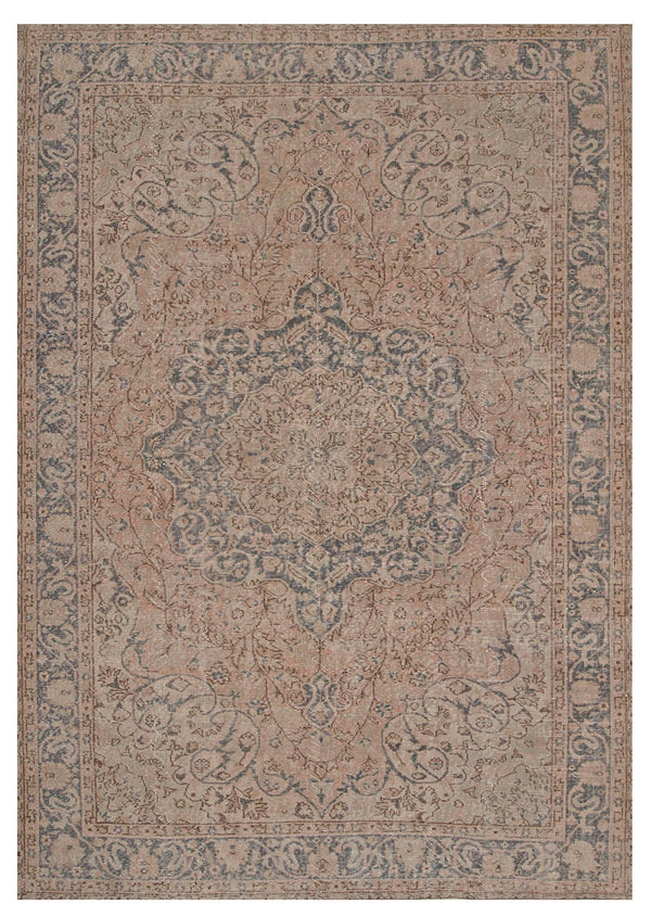 Turkish Oushak Large Rug, 7 x 10 feet, Oriental Area Rug, Low Pile Wool Handmade Beige Blue Floral Rug