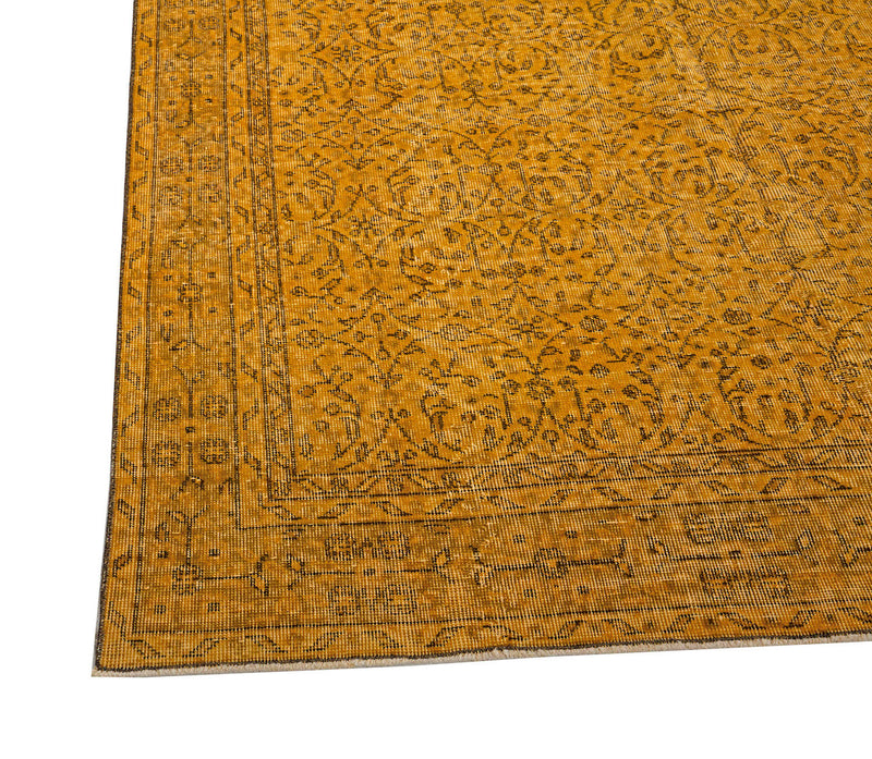 Yellow Turkish Rug | Oushak Rug | 7 x 10 feet | Oriental Area Rug | Shaved Turkish Rug | Vintage Turkish Rug