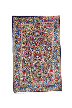 Oriental Antique 5x8 Persian Style Rug | Pink Blue Landscape | Luxury Fine Wool Rug | Bright Colorful Vibrant