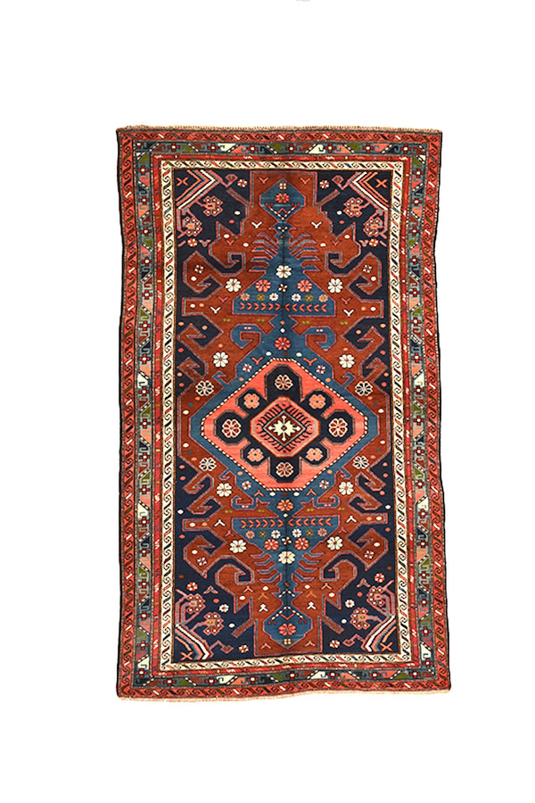 Vintage Kazak Tribal 4x7 Rug | Geometric Red Blue Rug | Bright Medallion Rug | Boho Style | Wool Hand Knotted Rug