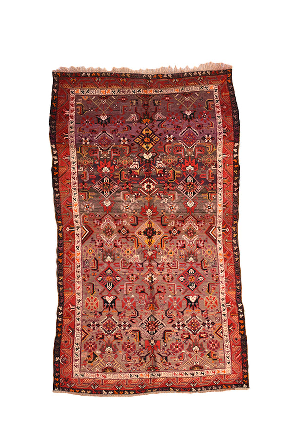 Vintage Red Rug | Ombre Rug Brown | 4x7 Rug | Antique Turkish Kazak Rug | Geometric Tribal Rug | Multicolor Rug | Boho Style Rug