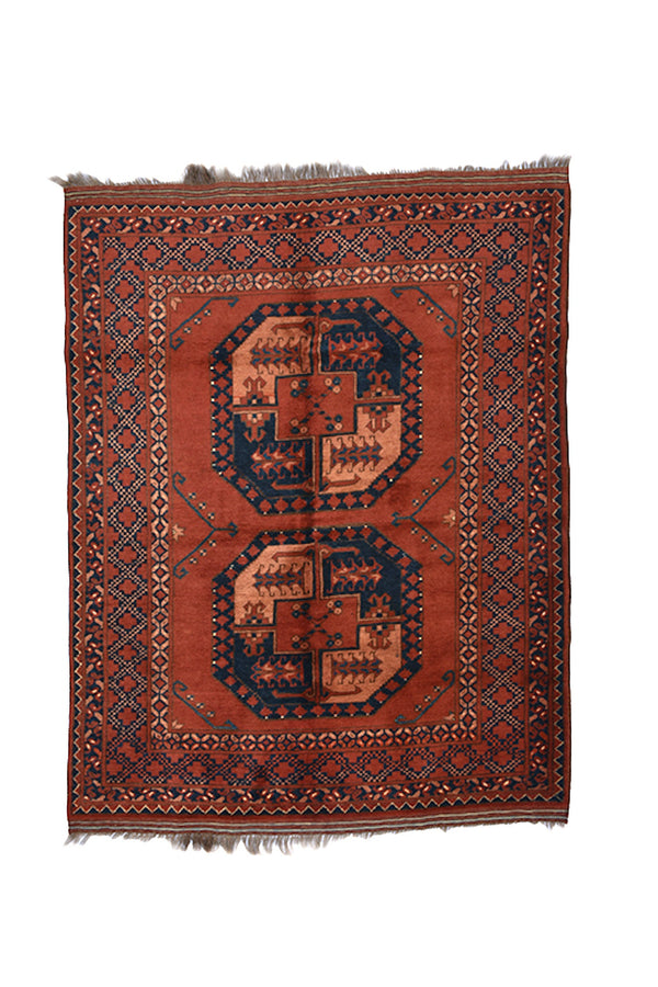 Antique Red Orange Vintage 4x5 Rug | Geometric Medallion Rug | Afghan Persian Wool Rug | One of a Kind Wool Hand Knotted