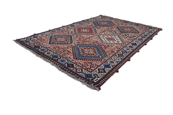 Coral Blue Vintage Rug | Tribal Area Rug | 3 x 5 ft | Diamond Medallion Rug | Bohemian Style Rug | Turkish Persian Afghan Rug
