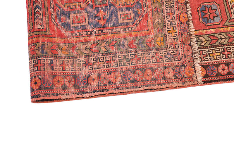 Coral Vintage Rug | Antique Kazak Rug | Medallion Rug | 5 x 8 Rug | Hand Knotted Rug | Oriental Rug | Bright Colored Rug