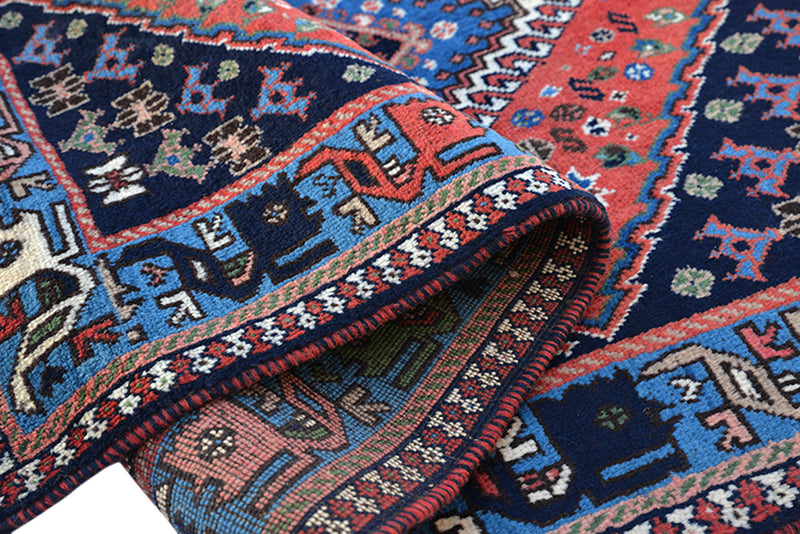 Orange Navy 3x5 Bohemian Handmade Rug | Vintage Geometric Rug | Tribal Persian Turkish Rug | Wool Antique Rug