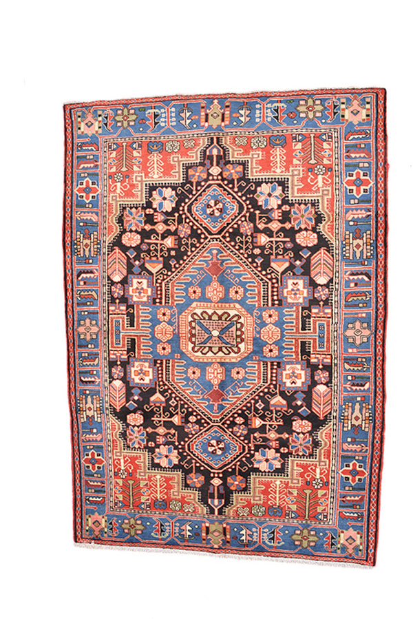Blue Vintage Rug | 4 x 6 Feet | Light Dark Blue Rug |  Traditional Rug | Medallion Rug | Tribal Geometric Rug |