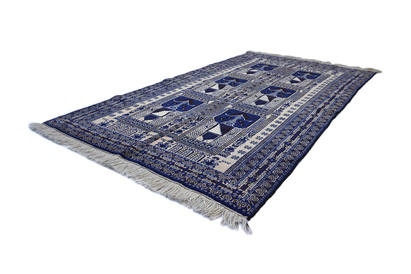 Blue Persian Afghan Rug | Vintage Area Rug | 4 x 6 Ft Rug | Wool Handwoven Antique Rug | Blue Black Beige Rug | Accent Rug