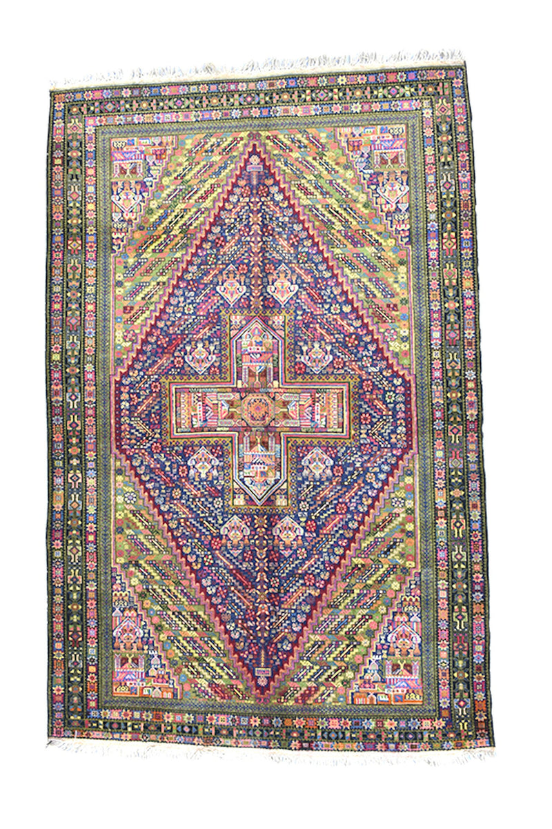 Vintage Turkish Kazak Rug | Green Pink Rug | Hand Knotted Rug | Diamond Medallion Area Rug | 4 x 7 Rug | Wool