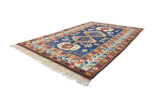 Handmade Oriental Rug | Geometric Blue Red Rug | 4 x 7 ft | Kazak Rug | Wool Rug | Soft Pile | Tribal Area Rug