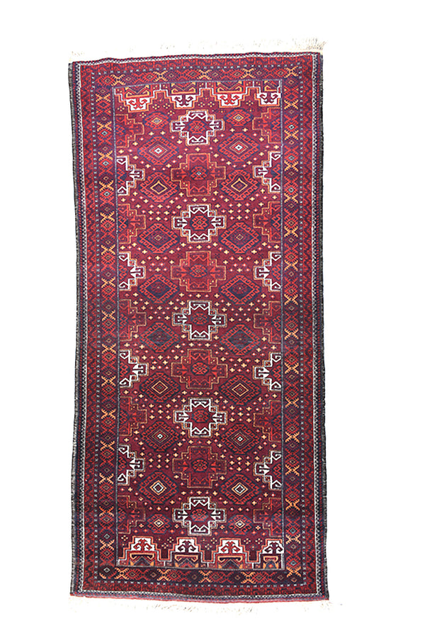 Vintage Runner Rug | 3 x 7 ft | Persian Turkish Afghan Rug | Vintage Rug Shop | Red Blue Rug | Tribal Oriental Rug