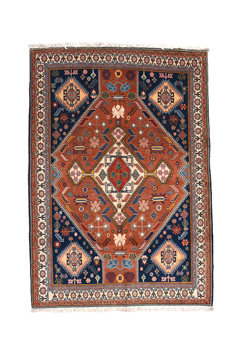 Red Blue Oriental Rug Vintage | Geometric Rug | 3 x 5 Rug | Red Orange Boho Rug | Hand Knotted Rug | Blue Wool Rug | Central Medallion Rug