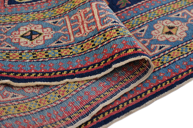 Vintage Blue Rug | Kazak Area Rug | Multi Color Tribal Style Rug | 3 x 5 Ft Rug | Accent Blue Pink Rug | Handmade Wool Rug | Antique Rug