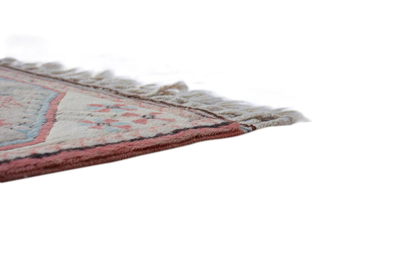 Hand Knotted Runner Rug | 2 x 9 ft Runner Rug | Vintage Beige and Pink Runner Rug | Hand Knotted Wool Runner Rug