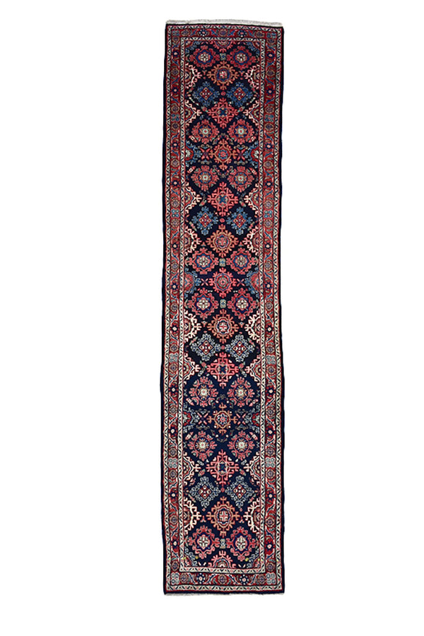 Navy Pink Runner Oriental Hand Knotted Rug | 3 x 13 feet | Persian Turkish Caucasian Style Rug | Colorful Wool Runner Rug