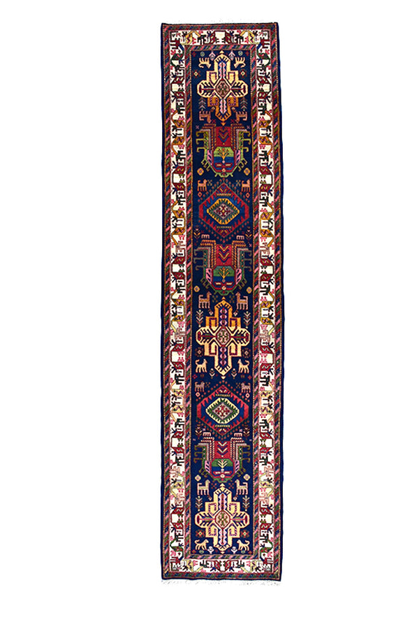 Navy Red Runner Rug | Colorful Runner | 3 x 13 ft | Wool Hand Knotted | Persian Turkish Caucasian Style Long Rug | Antique Runner