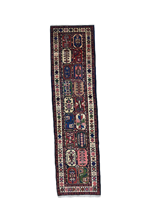Blue Pink Runner Rug | Colorful Hallway Rug | Persian Caucasian Runner Rug | 3 x 11 ft | Multicolor Tribal Pattern | Wool Hand Knotted Rug