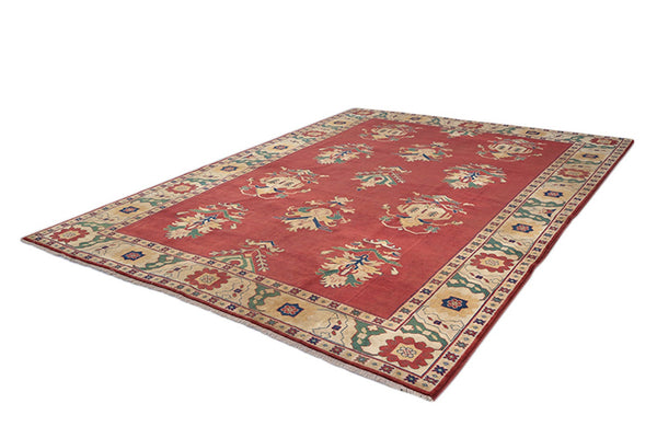 Red Large Persian Rug , Oriental Beige Bordered Rug , 9 x 11 ft , Handwoven Area Rug , Traditional Antique Rug
