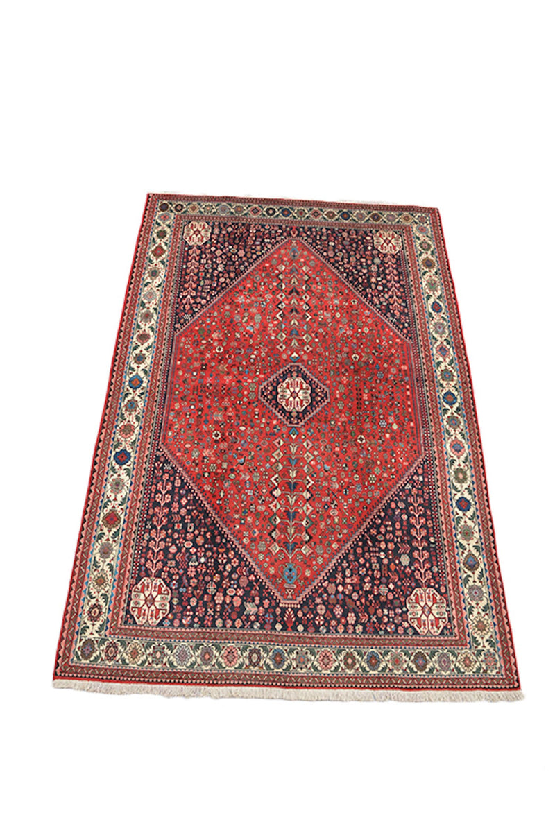 Red Navy 6x9 Medallion Rug | Red Hexagon Medallion, Oriental Traditional Rug | Colorful Boho Eclectic Living Room Rug