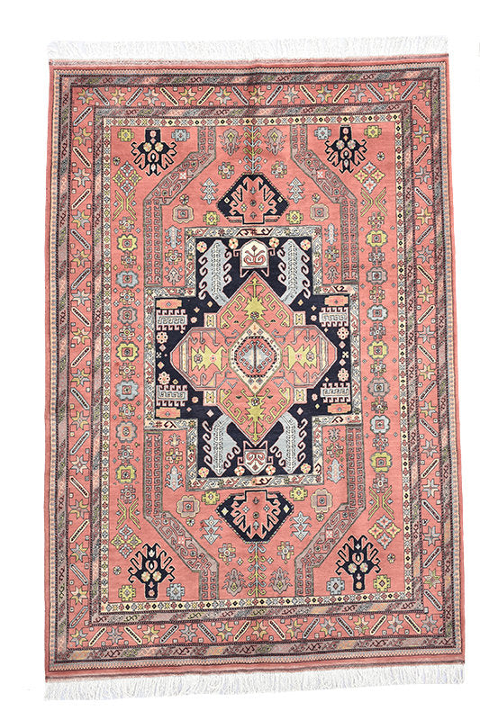 Traditional Turkish Area Rug | 7 x 10 Ft | Light Orange Coral Rug | Navy Medallion Rug | Hand Knotted Rug | Boho Geometric Rug