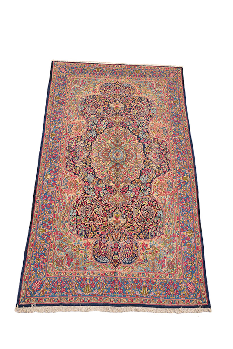 Floral Oriental 5x9 l Rug, Pink Blue, Persian Caucasian Style Rug, Traditional Medallion, Handmade Wool Antique Timeless Rug