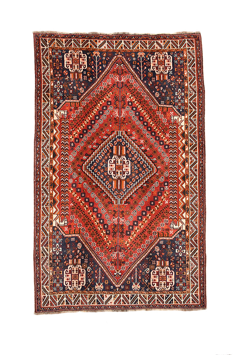Bohemian Vintage 6x9 Red Navy Persian Style Rug | Geometric Medallion Rug | Tribal Rug | Wool Area Rug | Handwoven