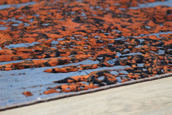 Blue Orange Vintage Persian 6x9 Rug | Contemporary Area Rug | Overdyed Hand Knotted Rug | Wool Rug