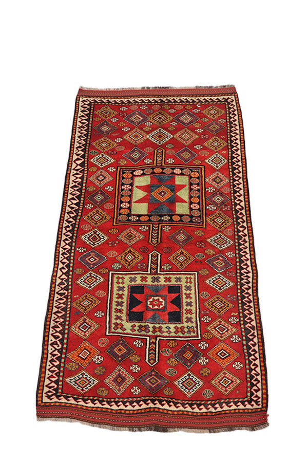 Tribal Red Runner, 4 x 8 Feet, Accent Kitchen Rug, Afghan Persian Rug, Antique Wool Rug