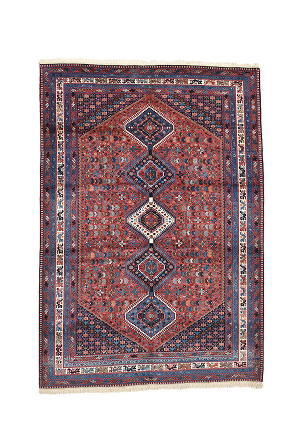 Red Blue Vintage Rug | Bohemian Tribal Rug | 6 x 9 Rug | Diamond Design Rug | Bordered Rug | Colorful Rug | Wool Hand knotted Oriental Rug