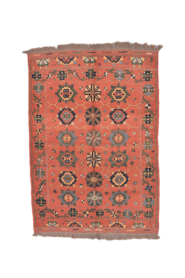 Coral Orange Rug | Multi Color Patterns | Vintage Area Rug | 4 x 5 Ft | Afghan Orange Rug | Wool Antique Rug