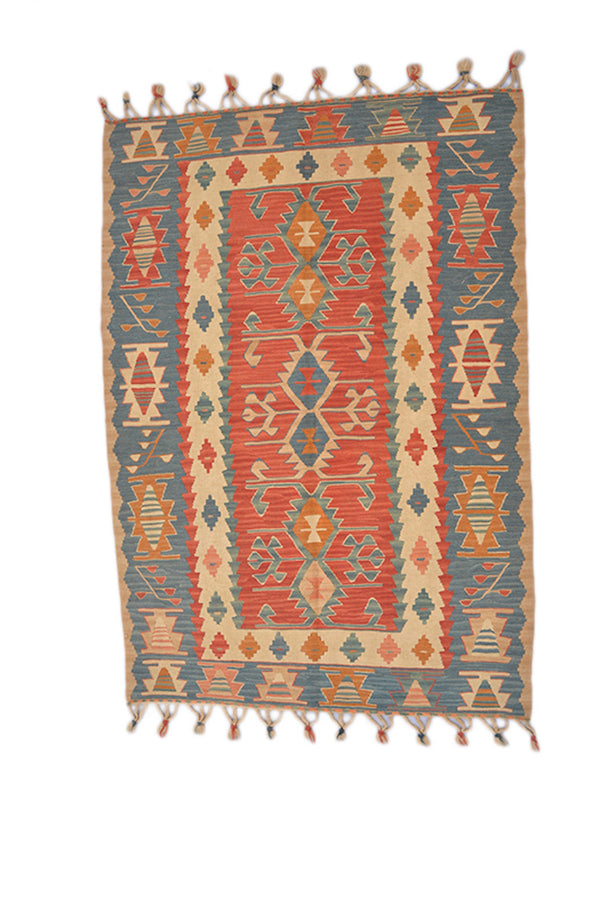Turkish Kilim 4 x 5 Rug | Red and Blue Tribal Geometric Rug | Flat Weave Decorative Rug