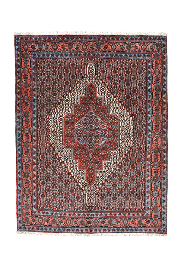 Blue Red Pink 4x5 Oriental Rug | Antique Medallion Rug | Traditional Persian Rug | Hand Knotted Vintage Rug